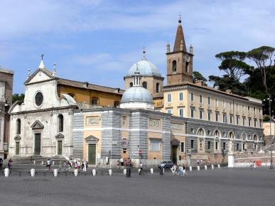 L'Eglise Santa Maria, piazza del Popolo où sont exposés le Saint Pierre et le Saint Paul du Maestro Caravaggio