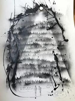 Saintelyon/course nocturne/aerosol/encre de chine/dessin